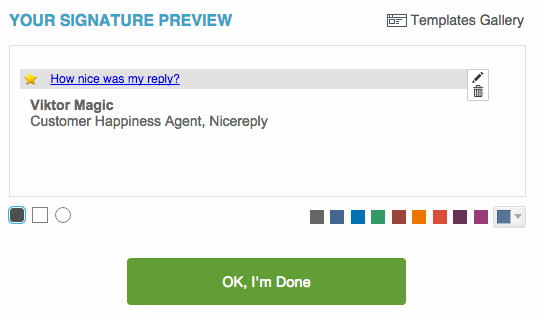 Nicereply in-signature happiness rating