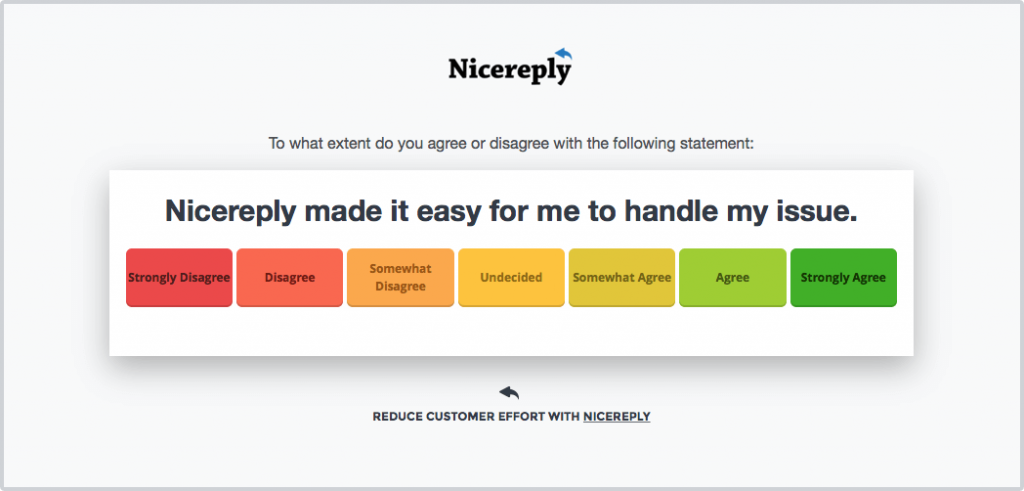 Customer Effort Score Survey designed by Nicereply