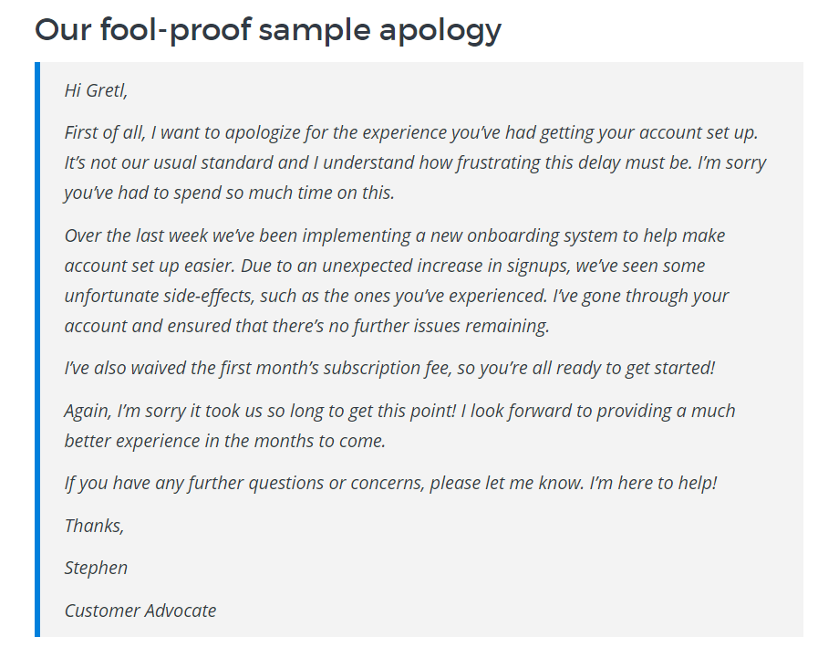 Sample apology template
