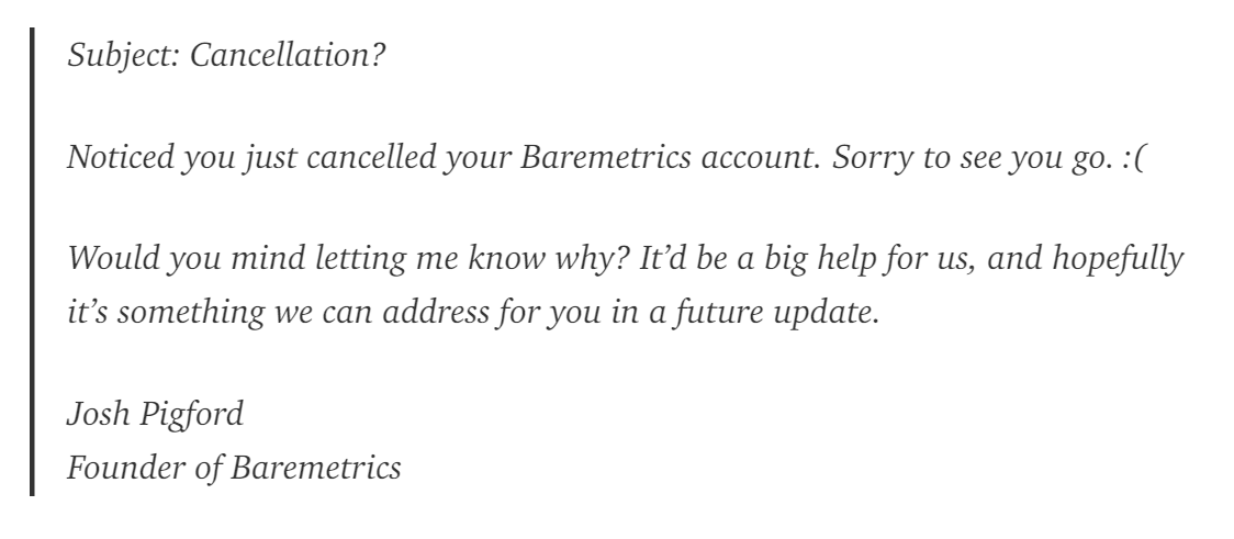 Automated follow-up email to cancelled accounts