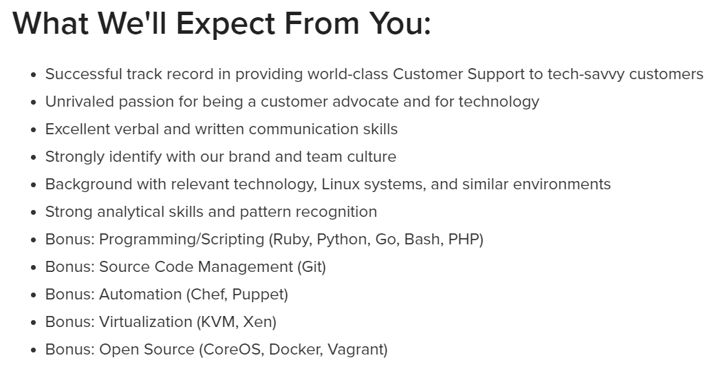 Customer support job expectations