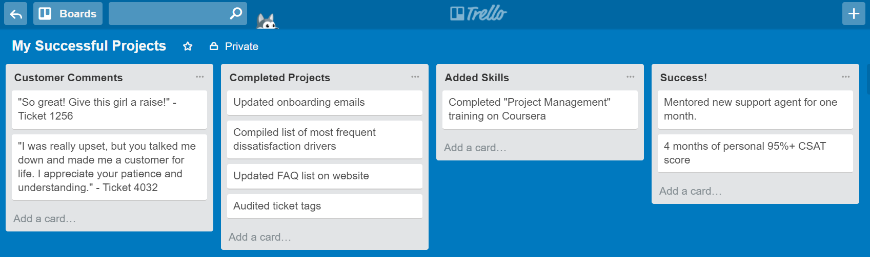 How to ask for a raise: Success Board in Trello