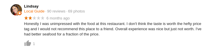 Le Bernardin/Google negative review