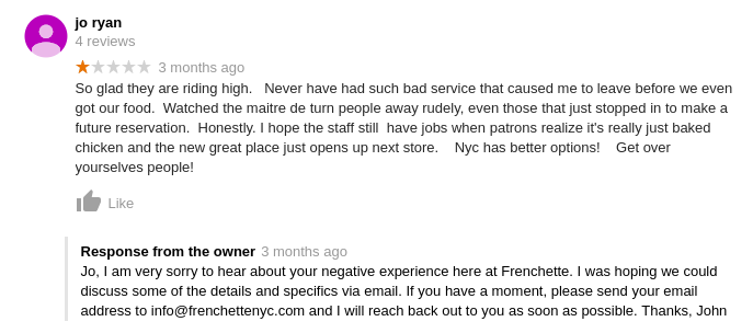 Franchette/Google negative review